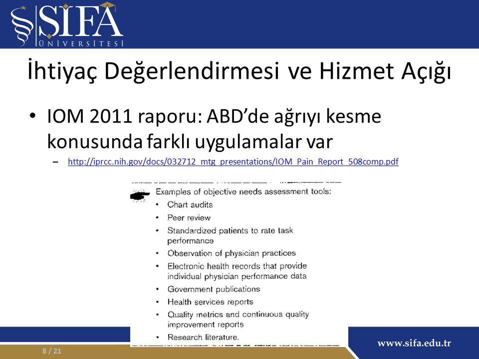 İhtiyaç Değerlendirmesi ve Hizmet Açığı IOM 2011 raporu: ABD'de ağrıyı kesme konusunda farklı uygulamalar var – http://iprcc.nih.gov/docs/032712_mtg_presentations/IOM_Pain_Report_508comp.pdf http://iprcc.nih.gov/docs/032712_mtg_presentations/IOM_Pain_Report_508comp.pdf / 218