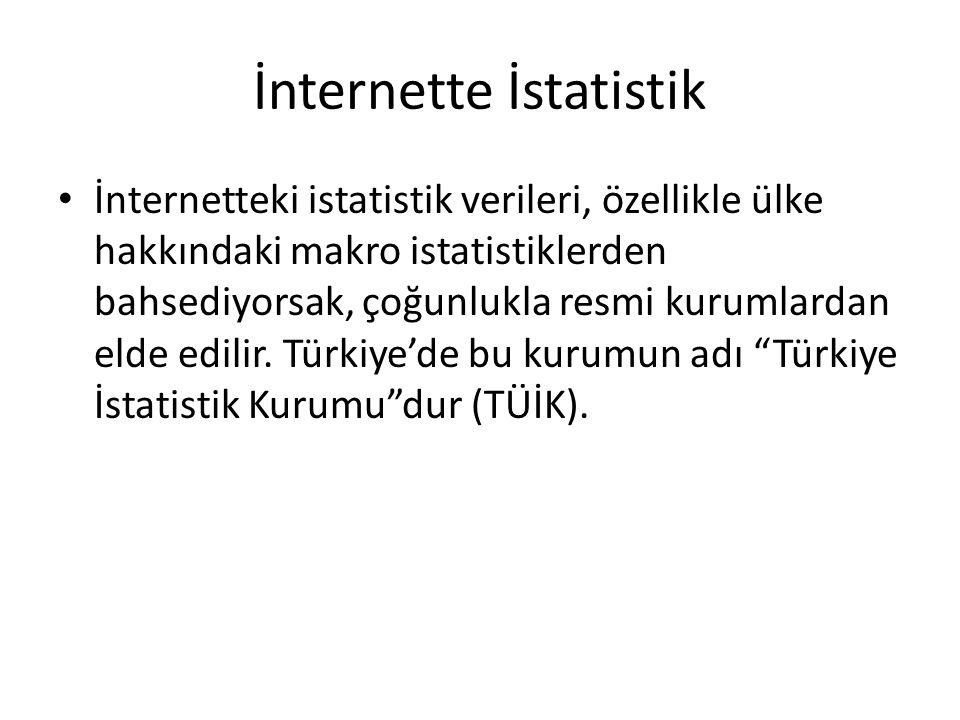 İnternetteki istatistik verileri, özellikle ülke hakkındaki makro istatistiklerden bahsediyorsak, çoğunlukla resmi kurumlardan elde edilir. Türkiye'de