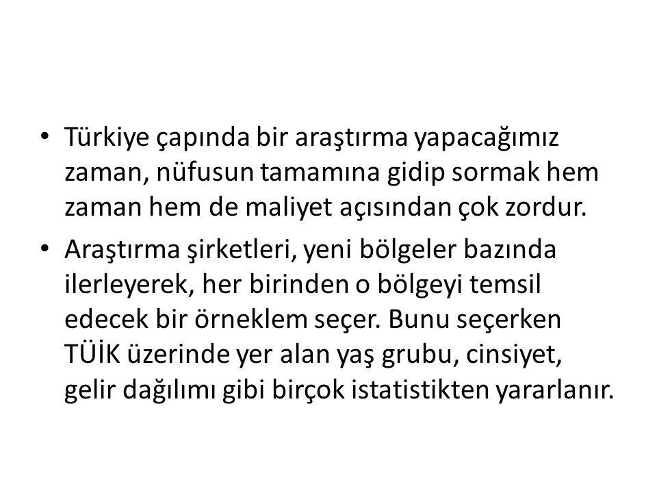 Türkiye çapında bir araştırma yapacağımız zaman, nüfusun tamamına gidip sormak hem zaman hem de maliyet açısından çok zordur.