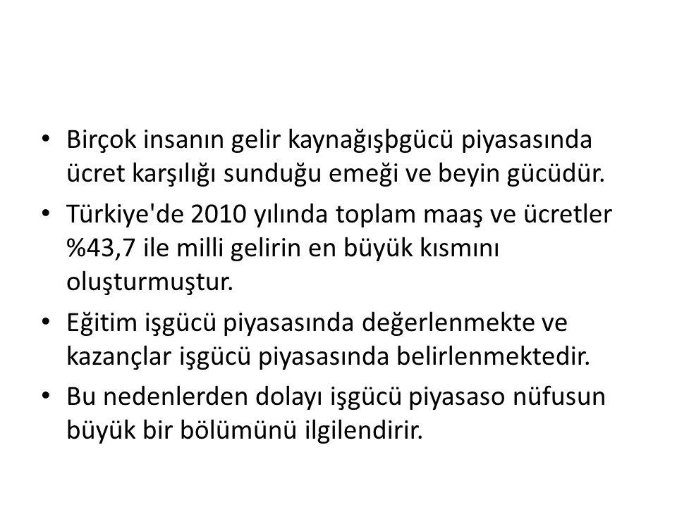 Birçok insanın gelir kaynağışþgücü piyasasında ücret karşılığı sunduğu emeği ve beyin gücüdür. Türkiye'de 2010 yılında toplam maaş ve ücretler %43,7 i