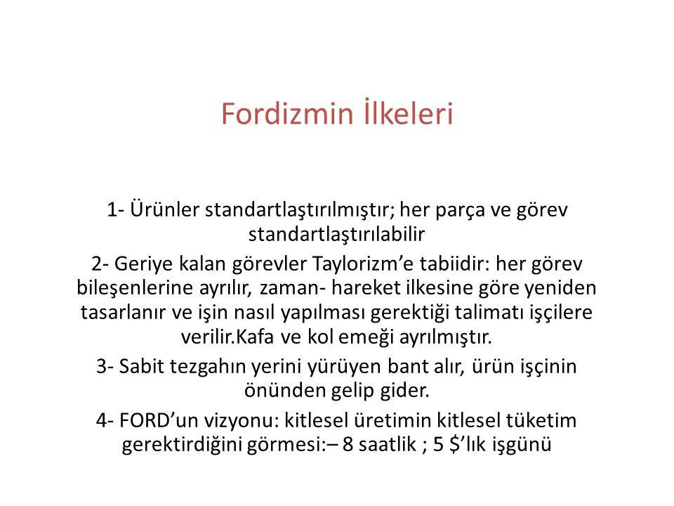Fordizmin İlkeleri 1- Ürünler standartlaştırılmıştır; her parça ve görev standartlaştırılabilir 2- Geriye kalan görevler Taylorizm'e tabiidir: her gör