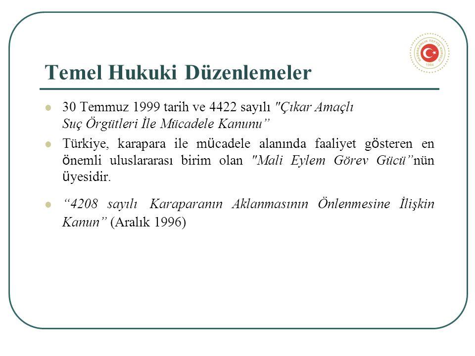 Temel Hukuki Düzenlemeler 30 Temmuz 1999 tarih ve 4422 sayılı Çıkar Amaçlı Suç Örgütleri İle Mücadele Kanunu Türkiye, karapara ile m ü cadele alanında faaliyet g ö steren en ö nemli uluslararası birim olan Mali Eylem Görev Gücü nün ü yesidir.
