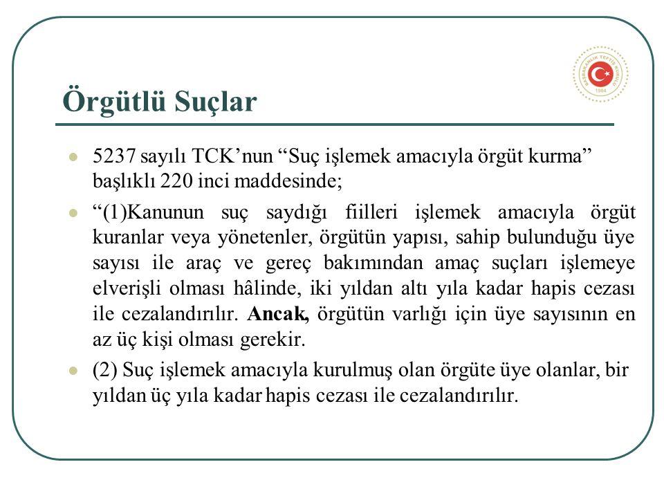 Örgütlü Suçlar 5237 sayılı TCK'nun Suç işlemek amacıyla örgüt kurma başlıklı 220 inci maddesinde; (1)Kanunun suç saydığı fiilleri işlemek amacıyla örgüt kuranlar veya yönetenler, örgütün yapısı, sahip bulunduğu üye sayısı ile araç ve gereç bakımından amaç suçları işlemeye elverişli olması hâlinde, iki yıldan altı yıla kadar hapis cezası ile cezalandırılır.