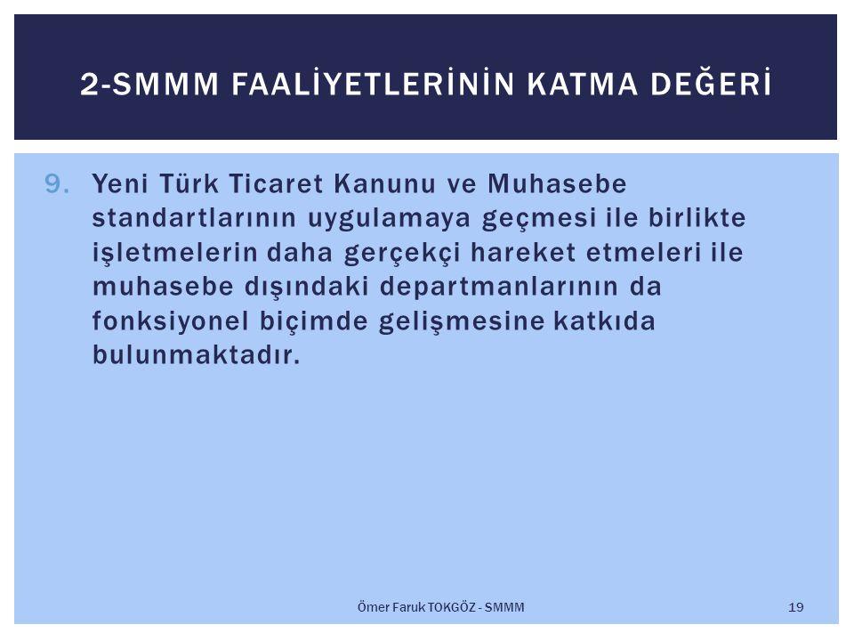 9.Yeni Türk Ticaret Kanunu ve Muhasebe standartlarının uygulamaya geçmesi ile birlikte işletmelerin daha gerçekçi hareket etmeleri ile muhasebe dışındaki departmanlarının da fonksiyonel biçimde gelişmesine katkıda bulunmaktadır.