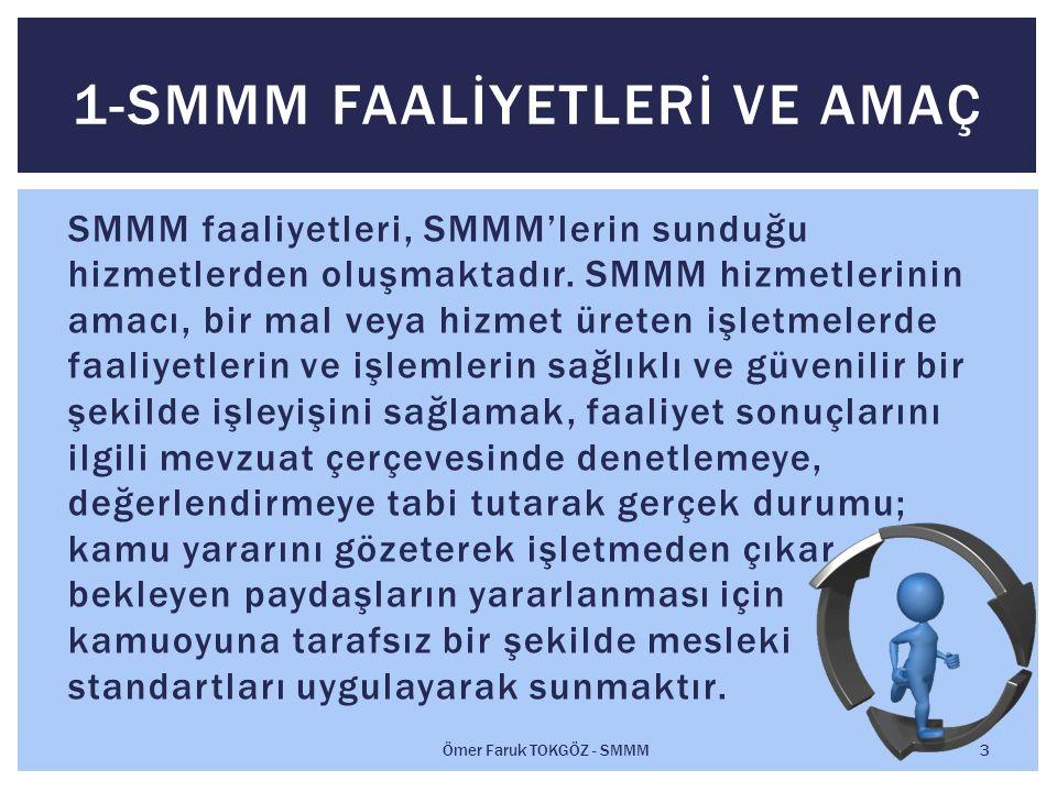 SMMM faaliyetleri, SMMM'lerin sunduğu hizmetlerden oluşmaktadır.