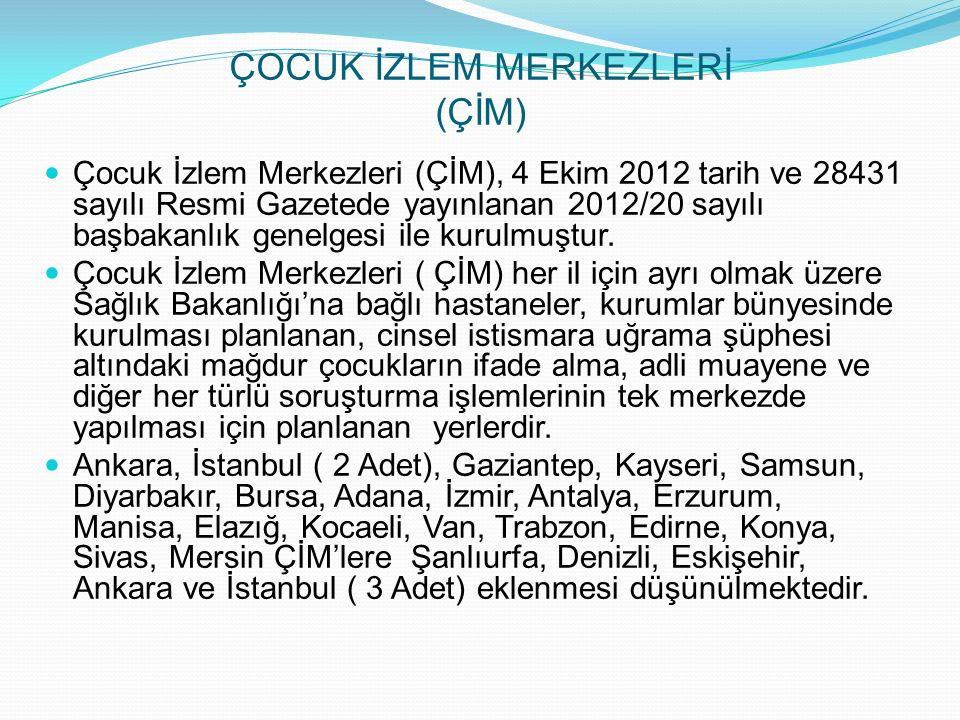 ÇOCUK İZLEM MERKEZLERİ (ÇİM) Çocuk İzlem Merkezleri (ÇİM), 4 Ekim 2012 tarih ve 28431 sayılı Resmi Gazetede yayınlanan 2012/20 sayılı başbakanlık genelgesi ile kurulmuştur.