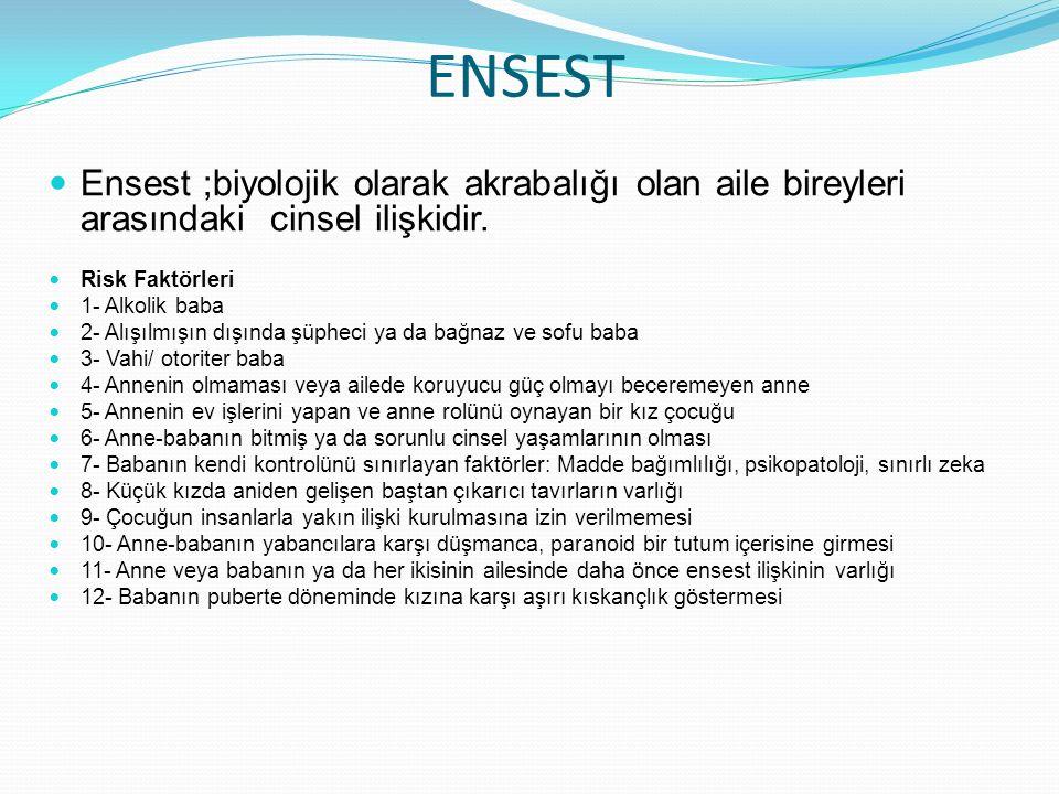ENSEST Ensest ;biyolojik olarak akrabalığı olan aile bireyleri arasındaki cinsel ilişkidir.