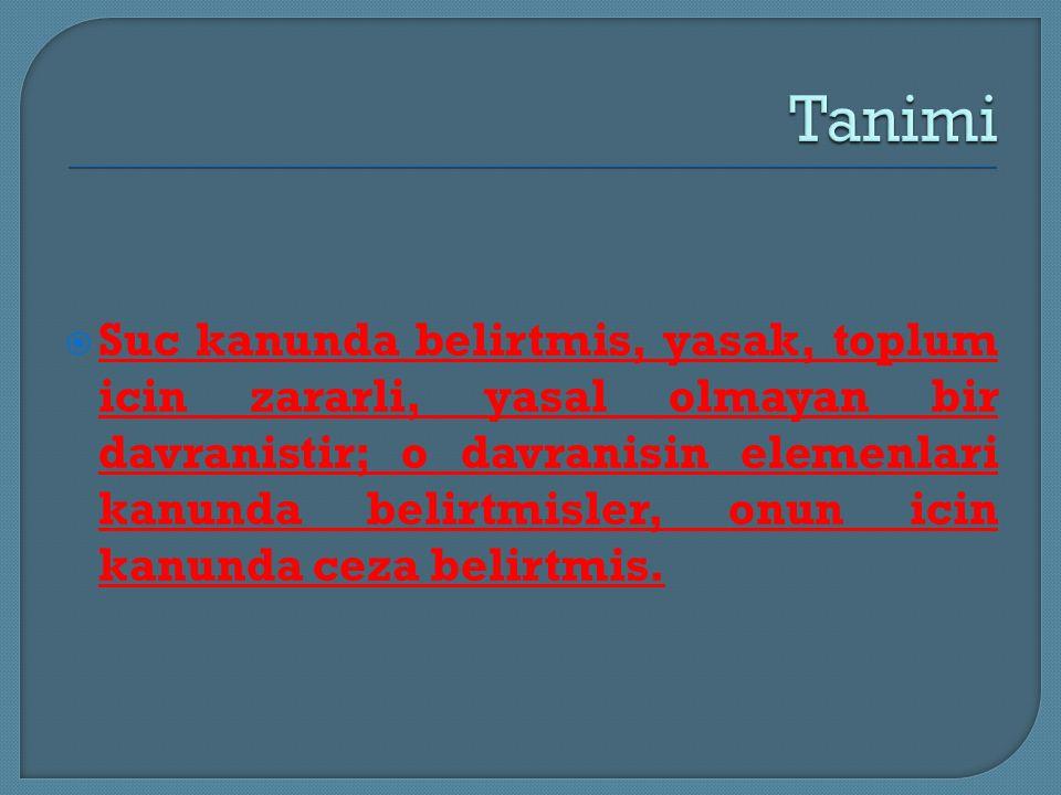  Suc kanunda belirtmis, yasak, toplum icin zararli, yasal olmayan bir davranistir; o davranisin elemenlari kanunda belirtmisler, onun icin kanunda ce
