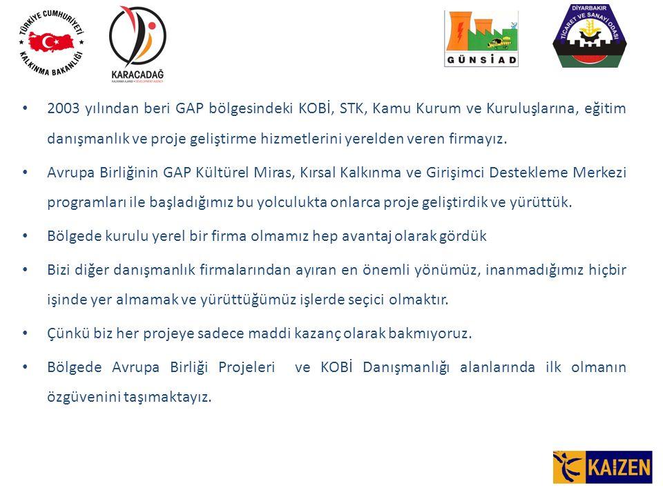 2003 yılından beri GAP bölgesindeki KOBİ, STK, Kamu Kurum ve Kuruluşlarına, eğitim danışmanlık ve proje geliştirme hizmetlerini yerelden veren firmayız.