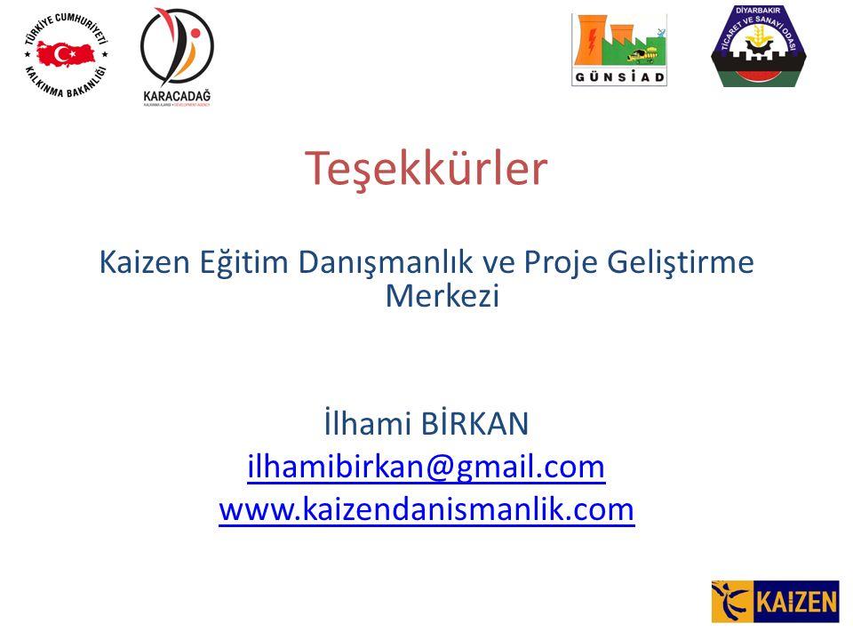 Teşekkürler Kaizen Eğitim Danışmanlık ve Proje Geliştirme Merkezi İlhami BİRKAN ilhamibirkan@gmail.com www.kaizendanismanlik.com