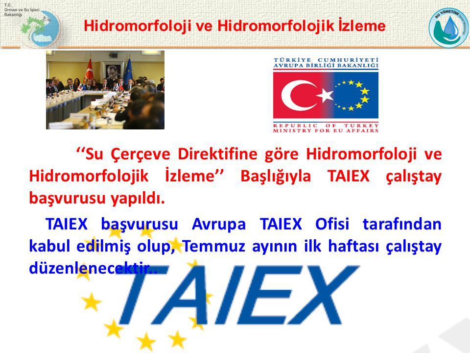 ''Su Çerçeve Direktifine göre Hidromorfoloji ve Hidromorfolojik İzleme'' Başlığıyla TAIEX çalıştay başvurusu yapıldı.