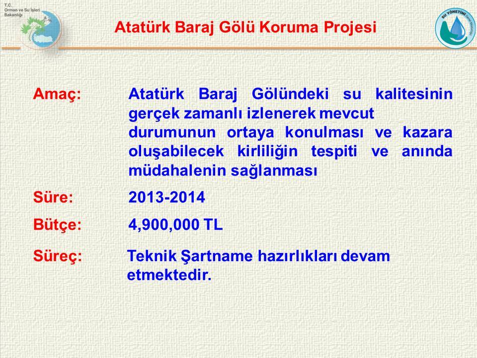 Amaç: Atatürk Baraj Gölündeki su kalitesinin gerçek zamanlı izlenerek mevcut durumunun ortaya konulması ve kazara oluşabilecek kirliliğin tespiti ve anında müdahalenin sağlanması Süre:2013-2014 Bütçe: 4,900,000 TL Süreç: Teknik Şartname hazırlıkları devam etmektedir.