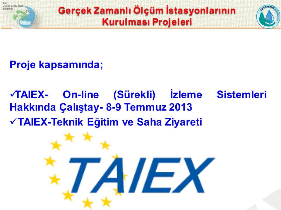 Proje kapsamında; TAIEX- On-line (Sürekli) İzleme Sistemleri Hakkında Çalıştay- 8-9 Temmuz 2013 TAIEX-Teknik Eğitim ve Saha Ziyareti Gerçek Zamanlı Ölçüm İstasyonlarının Kurulması Projeleri