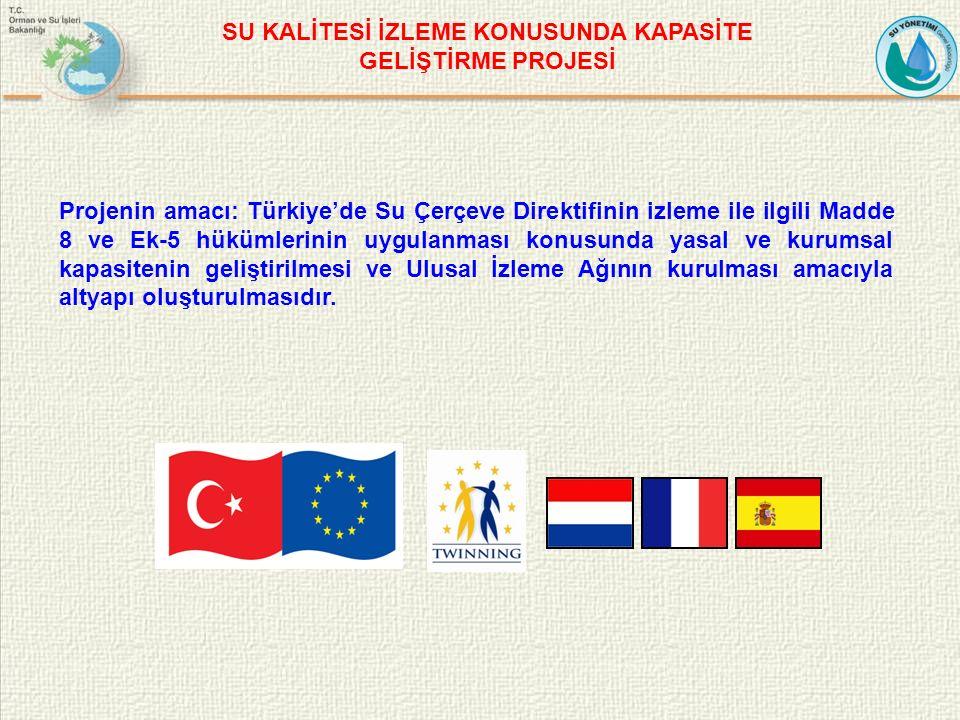 Projenin amacı: Türkiye'de Su Çerçeve Direktifinin izleme ile ilgili Madde 8 ve Ek-5 hükümlerinin uygulanması konusunda yasal ve kurumsal kapasitenin geliştirilmesi ve Ulusal İzleme Ağının kurulması amacıyla altyapı oluşturulmasıdır.