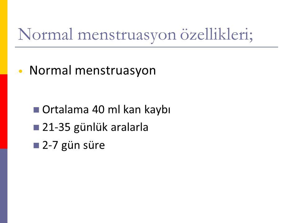Normal menstruasyon özellikleri; Normal menstruasyon Ortalama 40 ml kan kaybı 21-35 günlük aralarla 2-7 gün süre