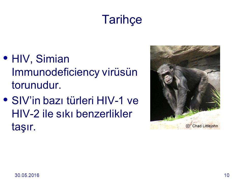 30.05.201610 Tarihçe   HIV, Simian Immunodeficiency virüsün torunudur.   SIV'in bazı türleri HIV-1 ve HIV-2 ile sıkı benzerlikler taşır.