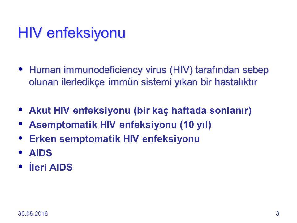 HIV enfeksiyonu  Human immunodeficiency virus (HIV) tarafından sebep olunan ilerledikçe immün sistemi yıkan bir hastalıktır   Akut HIV enfeksiyonu (bir kaç haftada sonlanır)   Asemptomatik HIV enfeksiyonu (10 yıl)   Erken semptomatik HIV enfeksiyonu   AIDS   İleri AIDS 30.05.20163