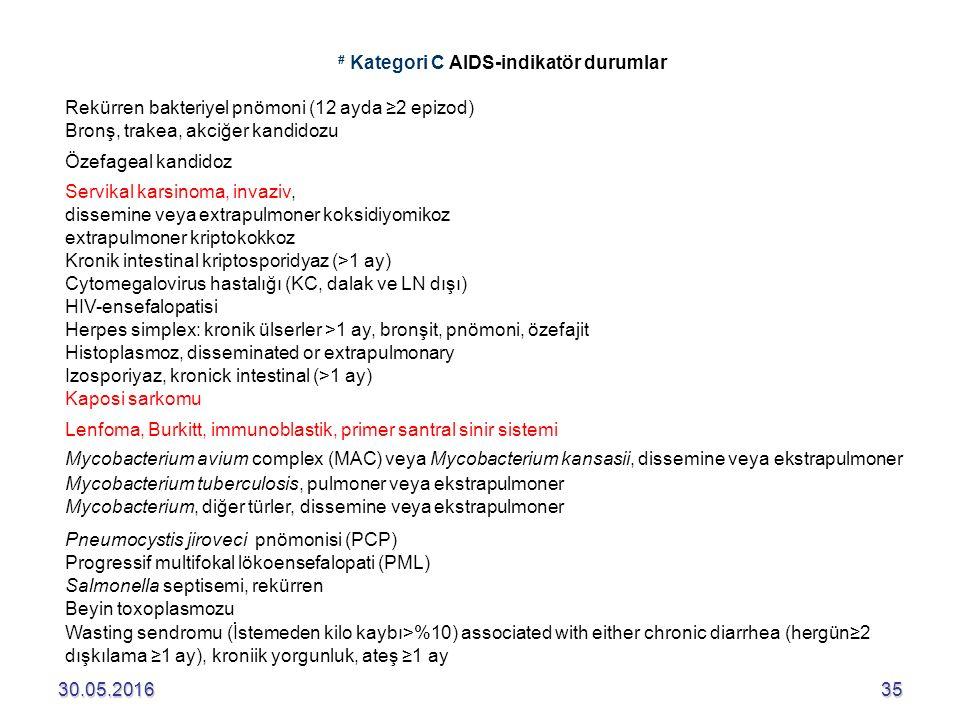 30.05.201635 # Kategori C AIDS-indikatör durumlar Rekürren bakteriyel pnömoni (12 ayda ≥2 epizod) Bronş, trakea, akciğer kandidozu Özefageal kandidoz Servikal karsinoma, invaziv, dissemine veya extrapulmoner koksidiyomikoz extrapulmoner kriptokokkoz Kronik intestinal kriptosporidyaz (>1 ay) Cytomegalovirus hastalığı (KC, dalak ve LN dışı) HIV-ensefalopatisi Herpes simplex: kronik ülserler >1 ay, bronşit, pnömoni, özefajit Histoplasmoz, disseminated or extrapulmonary Izosporiyaz, kronick intestinal (>1 ay) Kaposi sarkomu Lenfoma, Burkitt, immunoblastik, primer santral sinir sistemi Mycobacterium avium complex (MAC) veya Mycobacterium kansasii, dissemine veya ekstrapulmoner Mycobacterium tuberculosis, pulmoner veya ekstrapulmoner Mycobacterium, diğer türler, dissemine veya ekstrapulmoner Pneumocystis jiroveci pnömonisi (PCP) Progressif multifokal lökoensefalopati (PML) Salmonella septisemi, rekürren Beyin toxoplasmozu Wasting sendromu (İstemeden kilo kaybı>%10) associated with either chronic diarrhea (hergün≥2 dışkılama ≥1 ay), kroniik yorgunluk, ateş ≥1 ay