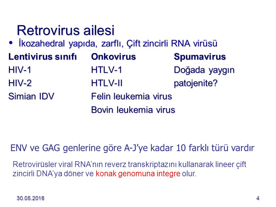 430.05.20164 Retrovirus ailesi  İkozahedral yapıda, zarflı, Çift zincirli RNA virüsü Lentivirus sınıfıOnkovirusSpumavirus HIV-1HTLV-1Doğada yaygın HI