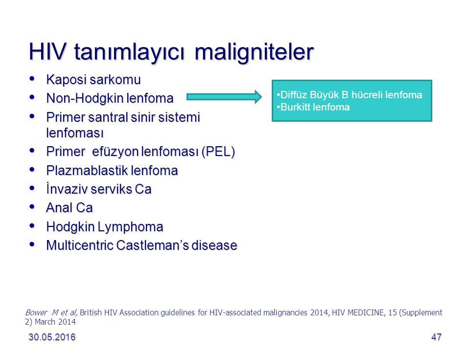 HIV tanımlayıcı maligniteler  Kaposi sarkomu  Non-Hodgkin lenfoma  Primer santral sinir sistemi lenfoması  Primer efüzyon lenfoması (PEL)  Plazmablastik lenfoma  İnvaziv serviks Ca  Anal Ca  Hodgkin Lymphoma  Multicentric Castleman's disease 30.05.201647 Bower M et al, British HIV Association guidelines for HIV-associated malignancies 2014, HIV MEDICINE, 15 (Supplement 2) March 2014 Diffüz Büyük B hücreli lenfoma Burkitt lenfoma