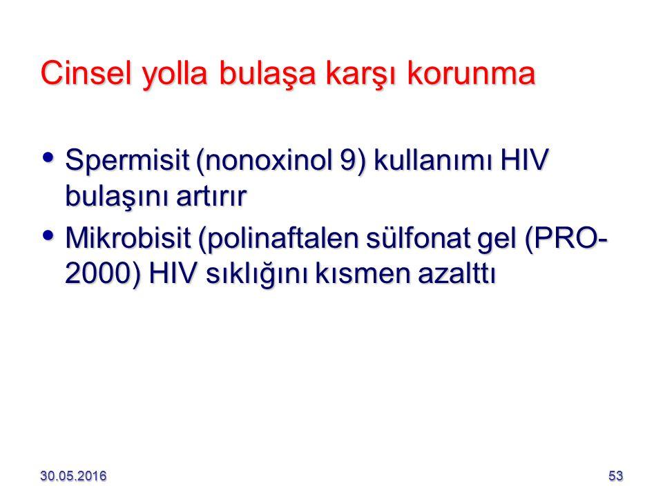 30.05.201653 Cinsel yolla bulaşa karşı korunma  Spermisit (nonoxinol 9) kullanımı HIV bulaşını artırır  Mikrobisit (polinaftalen sülfonat gel (PRO- 2000) HIV sıklığını kısmen azalttı 30.05.201653