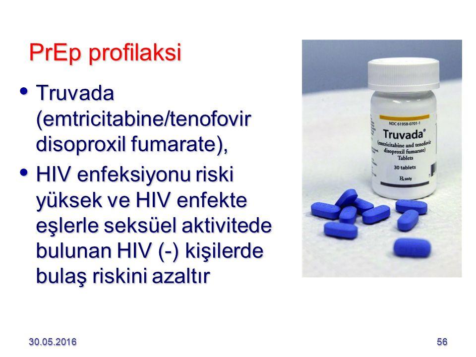 30.05.201656 PrEp profilaksi  Truvada (emtricitabine/tenofovir disoproxil fumarate),  HIV enfeksiyonu riski yüksek ve HIV enfekte eşlerle seksüel aktivitede bulunan HIV (-) kişilerde bulaş riskini azaltır 30.05.201656