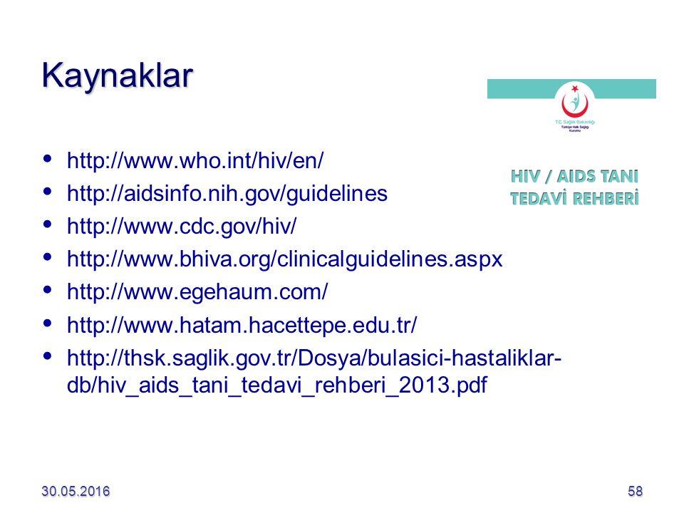 Kaynaklar   http://www.who.int/hiv/en/   http://aidsinfo.nih.gov/guidelines   http://www.cdc.gov/hiv/   http://www.bhiva.org/clinicalguidelines.aspx   http://www.egehaum.com/   http://www.hatam.hacettepe.edu.tr/   http://thsk.saglik.gov.tr/Dosya/bulasici-hastaliklar- db/hiv_aids_tani_tedavi_rehberi_2013.pdf 30.05.201658