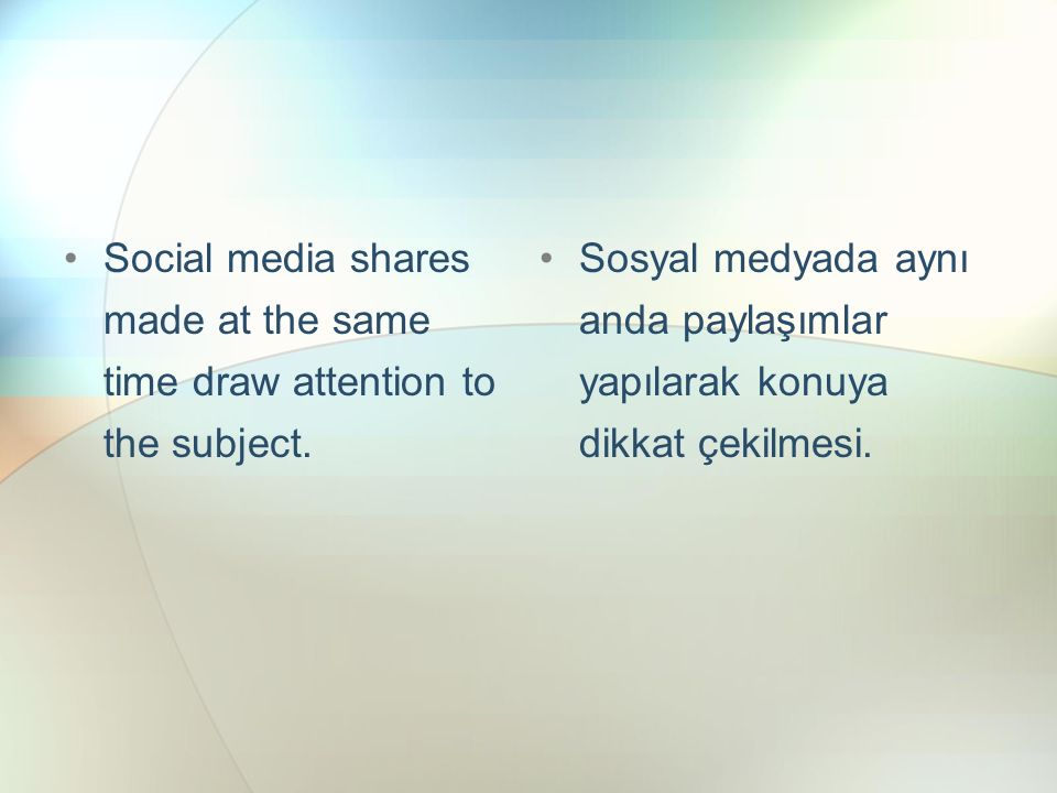 Social media shares made ​​ at the same time draw attention to the subject.