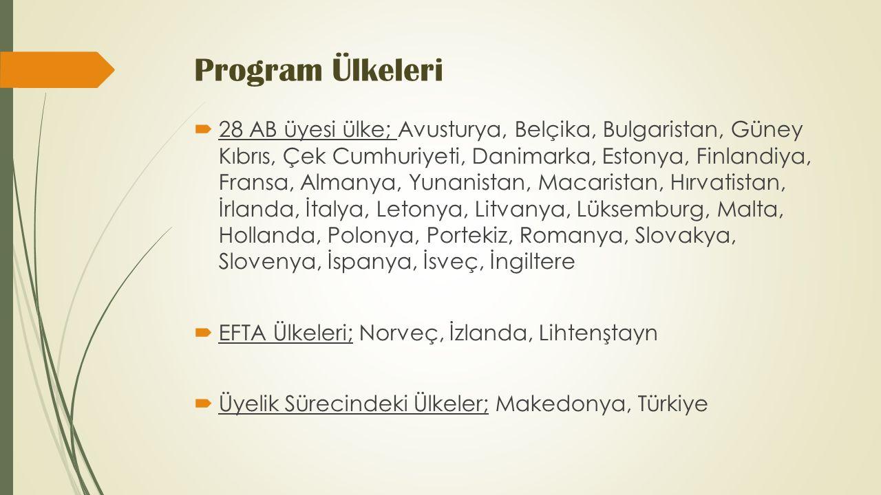 Program Ülkeleri  28 AB üyesi ülke; Avusturya, Belçika, Bulgaristan, Güney Kıbrıs, Çek Cumhuriyeti, Danimarka, Estonya, Finlandiya, Fransa, Almanya, Yunanistan, Macaristan, Hırvatistan, İrlanda, İtalya, Letonya, Litvanya, Lüksemburg, Malta, Hollanda, Polonya, Portekiz, Romanya, Slovakya, Slovenya, İspanya, İsveç, İngiltere  EFTA Ülkeleri; Norveç, İzlanda, Lihtenştayn  Üyelik Sürecindeki Ülkeler; Makedonya, Türkiye
