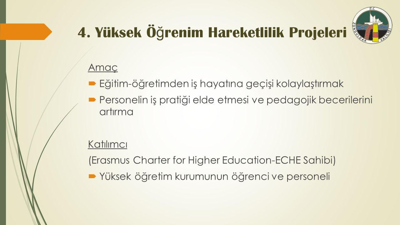 4. Yüksek Ö ğ renim Hareketlilik Projeleri Amaç  Eğitim-öğretimden iş hayatına geçişi kolaylaştırmak  Personelin iş pratiği elde etmesi ve pedagojik