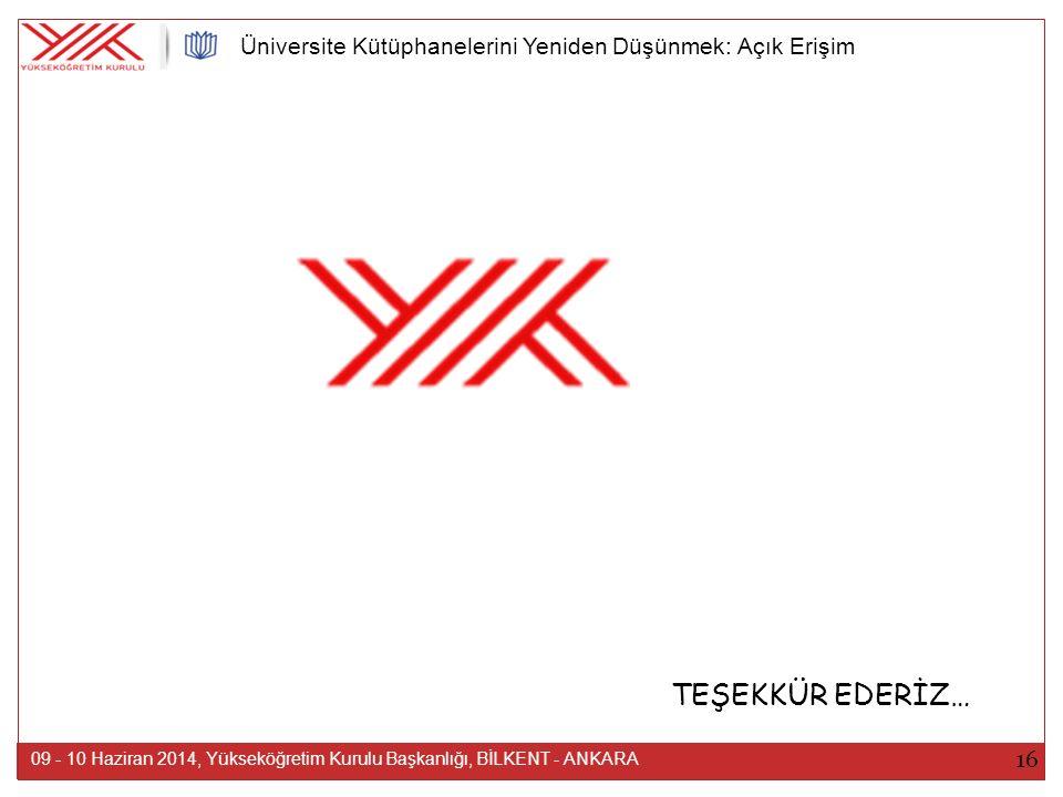 TEŞEKKÜR EDERİZ… 16 09 - 10 Haziran 2014, Yükseköğretim Kurulu Başkanlığı, BİLKENT - ANKARA Üniversite Kütüphanelerini Yeniden Düşünmek: Açık Erişim