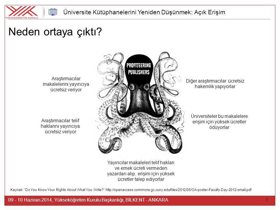 3 09 - 10 Haziran 2014, Yükseköğretim Kurulu Başkanlığı, BİLKENT - ANKARA Üniversite Kütüphanelerini Yeniden Düşünmek: Açık Erişim Araştırmacılar maka