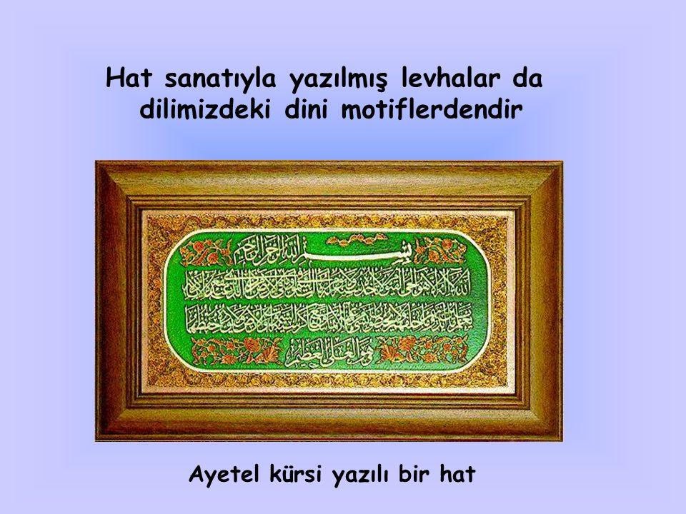 İstiklal marşı Mehter marşları Kahramanlık türküleri Mevlid ve kasideler Naat ve ilahiler Ezan ve sala vs… Musikimizdeki dini motiflere örnek olarak gösterilebilir…