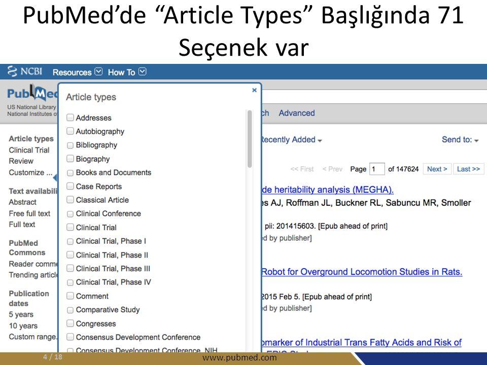 PubMed'de Article Types Başlığında 71 Seçenek var / 184 www.pubmed.com