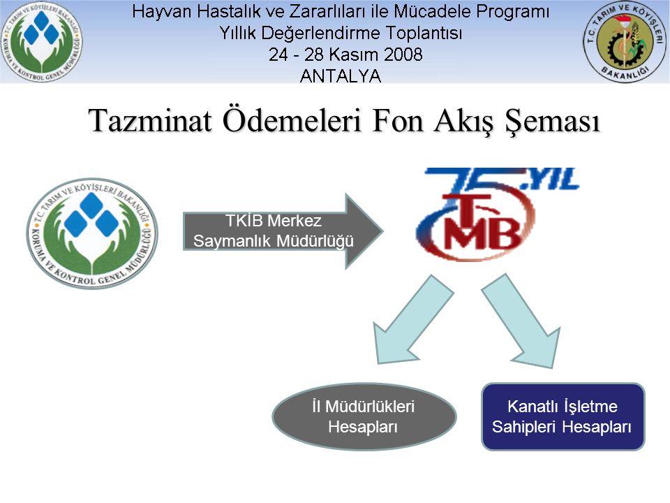 Tazminat Ödemeleri Fon Akış Şeması TKİB Merkez Saymanlık Müdürlüğü İl Müdürlükleri Hesapları Kanatlı İşletme Sahipleri Hesapları