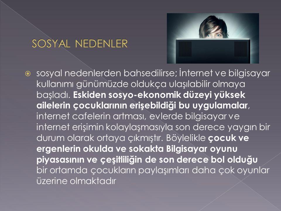 sosyal nedenlerden bahsedilirse; İnternet ve bilgisayar kullanımı günümüzde oldukça ulaşılabilir olmaya başladı.