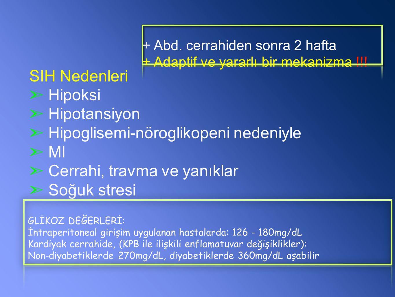SIH Nedenleri ➣ Hipoksi ➣ Hipotansiyon ➣ Hipoglisemi-nöroglikopeni nedeniyle ➣ MI ➣ Cerrahi, travma ve yanıklar ➣ Soğuk stresi GLİKOZ DEĞERLERİ: İntraperitoneal girişim uygulanan hastalarda: 126 - 180mg/dL Kardiyak cerrahide, (KPB ile ilişkili enflamatuvar değişiklikler): Non-diyabetiklerde 270mg/dL, diyabetiklerde 360mg/dL aşabilir + Abd.