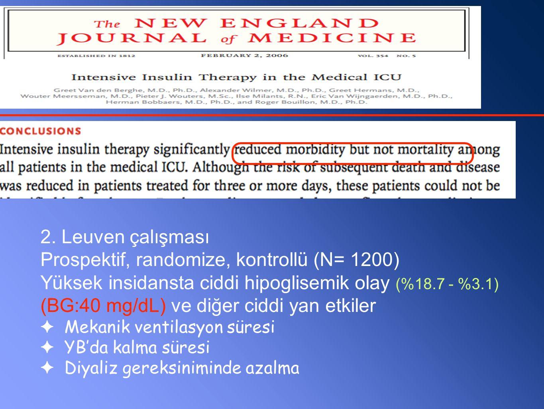 2. Leuven çalışması Prospektif, randomize, kontrollü (N= 1200) Yüksek insidansta ciddi hipoglisemik olay (%18.7 - %3.1) (BG:40 mg/dL) ve diğer ciddi y