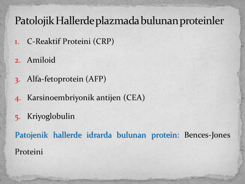 1.C-Reaktif Proteini (CRP) 2.Amiloid 3.Alfa-fetoprotein (AFP) 4.Karsinoembriyonik antijen (CEA) 5.Kriyoglobulin Patojenik hallerde idrarda bulunan pro
