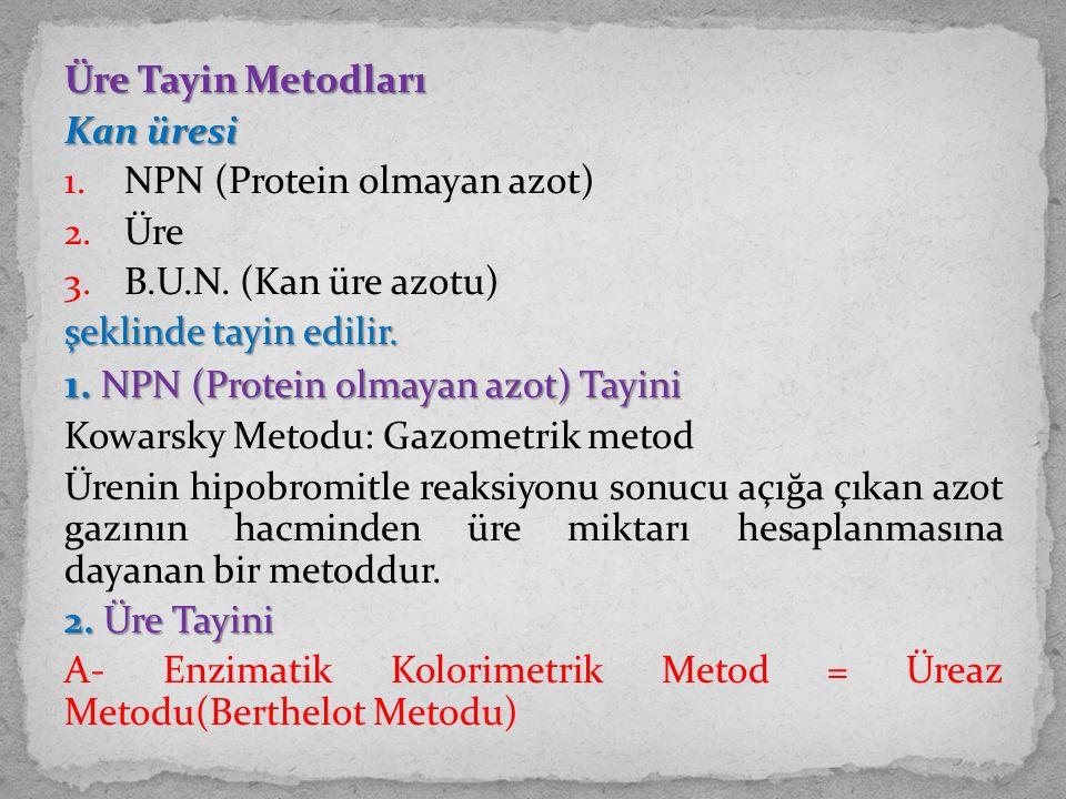 Üre Tayin Metodları Kan üresi 1. NPN (Protein olmayan azot) 2. Üre 3. B.U.N. (Kan üre azotu) şeklinde tayin edilir. 1. NPN (Protein olmayan azot) Tayi