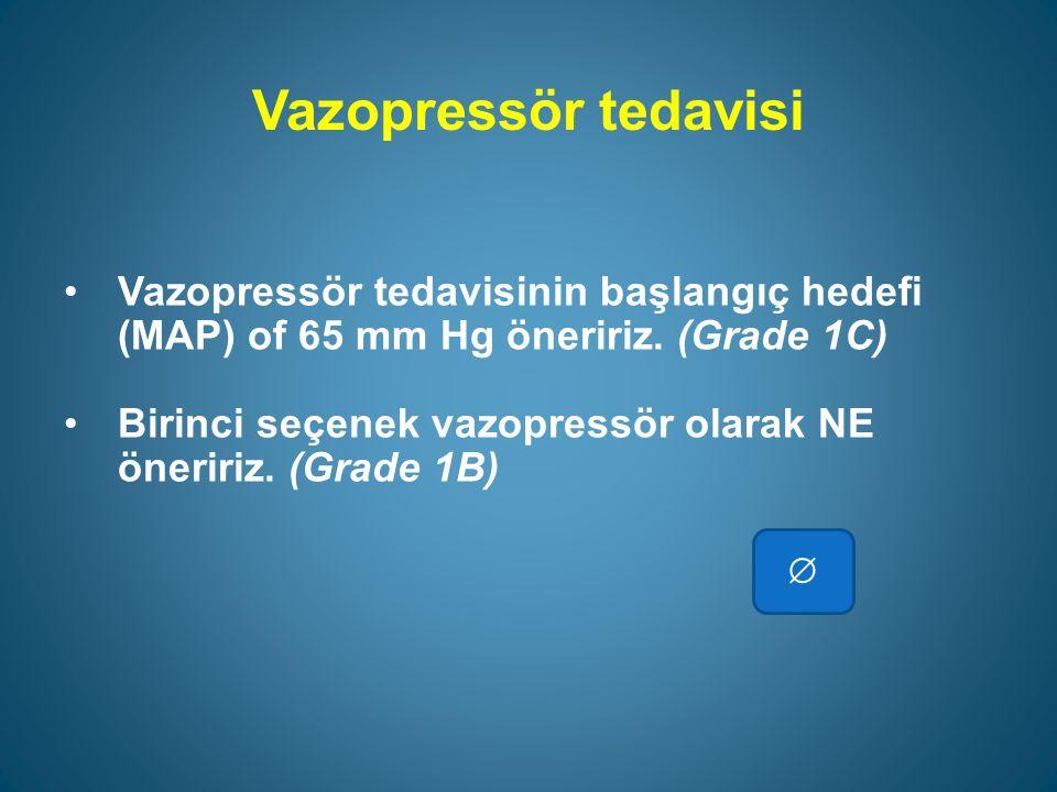Vazopressör tedavisi Vazopressör tedavisinin başlangıç hedefi (MAP) of 65 mm Hg öneririz.