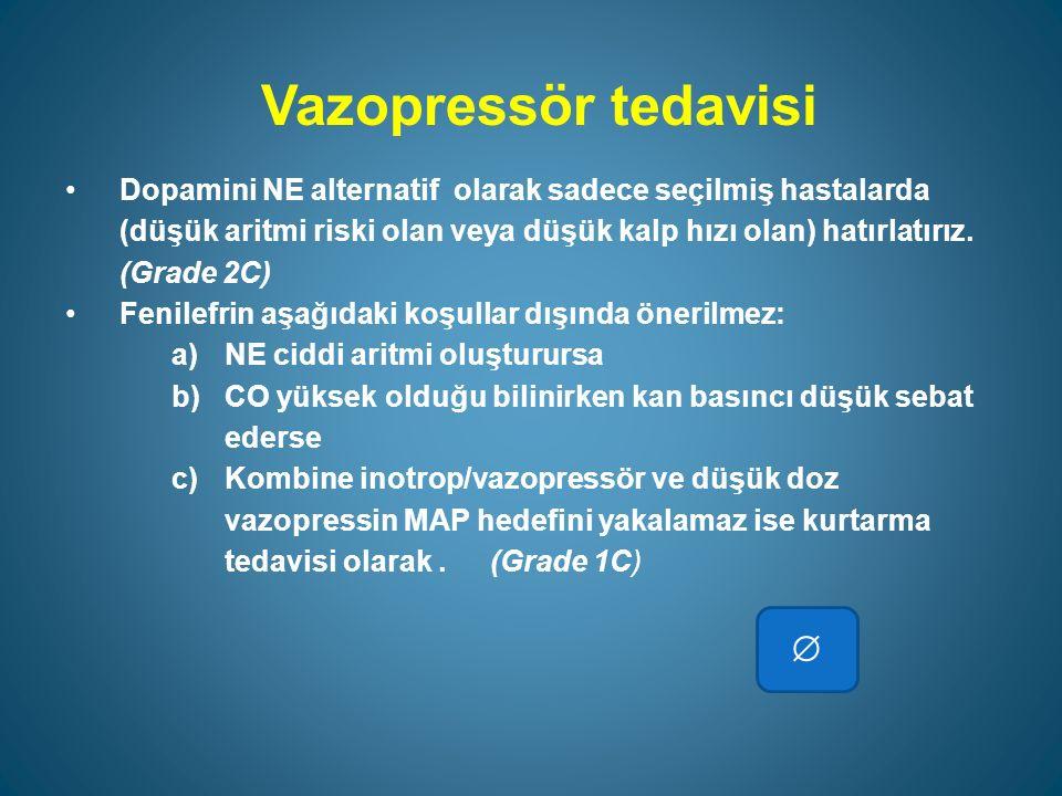 Vazopressör tedavisi Dopamini NE alternatif olarak sadece seçilmiş hastalarda (düşük aritmi riski olan veya düşük kalp hızı olan) hatırlatırız.