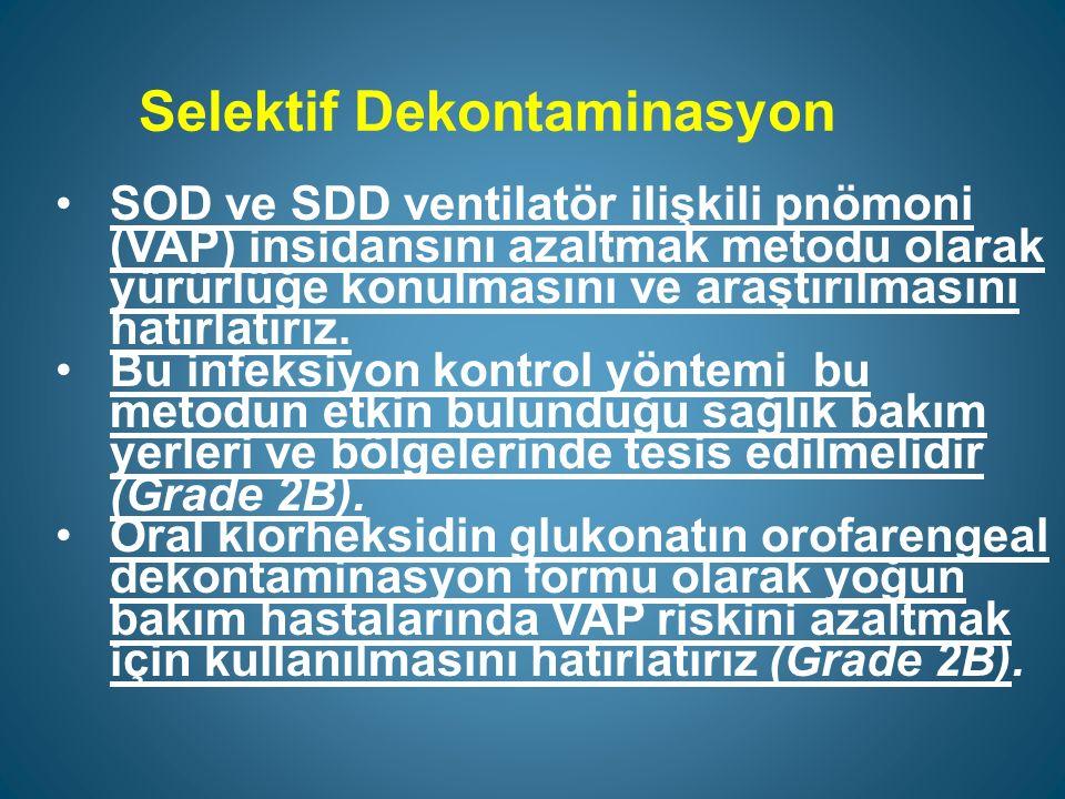 Selektif Dekontaminasyon SOD ve SDD ventilatör ilişkili pnömoni (VAP) insidansını azaltmak metodu olarak yürürlüğe konulmasını ve araştırılmasını hatırlatırız.