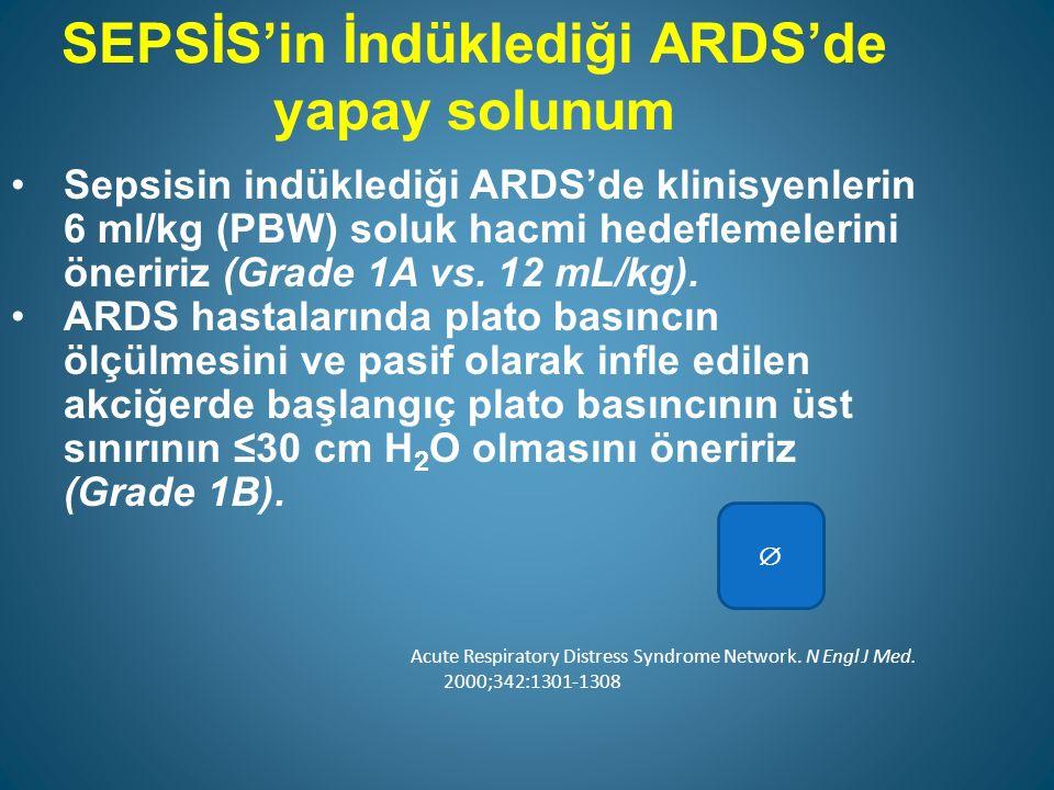 SEPSİS'in İndüklediği ARDS'de yapay solunum Sepsisin indüklediği ARDS'de klinisyenlerin 6 ml/kg (PBW) soluk hacmi hedeflemelerini öneririz (Grade 1A vs.