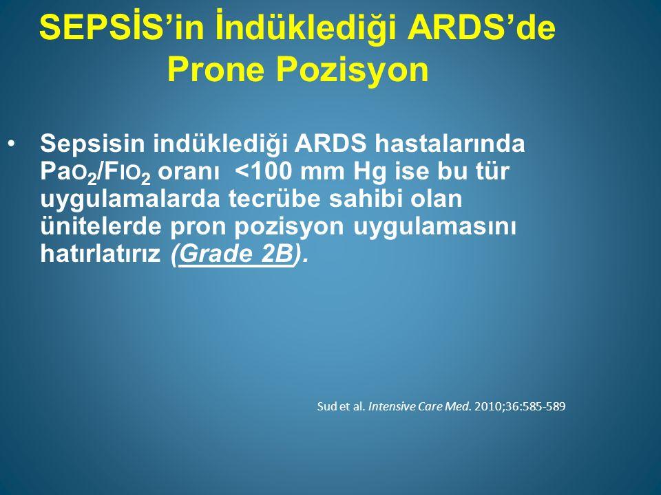 SEPSİS'in İndüklediği ARDS'de Prone Pozisyon Sepsisin indüklediği ARDS hastalarında Pa O 2 /F IO 2 oranı <100 mm Hg ise bu tür uygulamalarda tecrübe sahibi olan ünitelerde pron pozisyon uygulamasını hatırlatırız (Grade 2B).