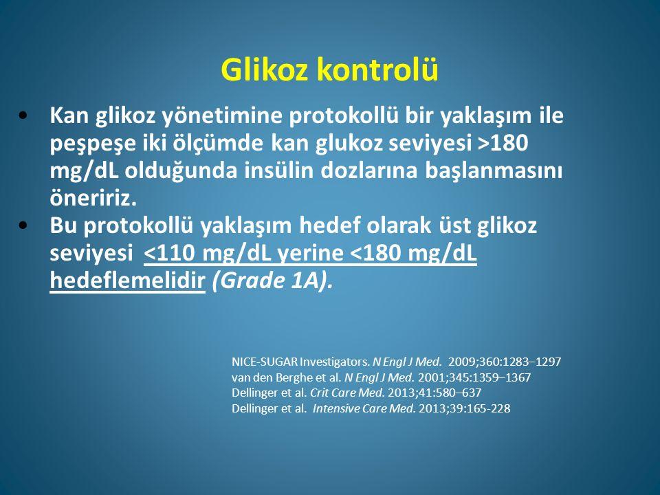 Glikoz kontrolü Kan glikoz yönetimine protokollü bir yaklaşım ile peşpeşe iki ölçümde kan glukoz seviyesi >180 mg/dL olduğunda insülin dozlarına başlanmasını öneririz.