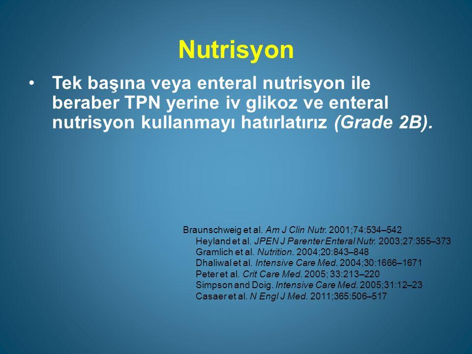 Nutrisyon Tek başına veya enteral nutrisyon ile beraber TPN yerine iv glikoz ve enteral nutrisyon kullanmayı hatırlatırız (Grade 2B).