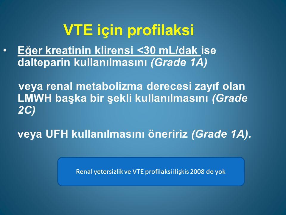 VTE için profilaksi Ağır sepsis hastalarının mümkün olduğunda farmakolojik tedavi ve aralıklı kompresyon cihazlarının kombinasyonu ile tedavi edilmelerini hatırlatırız (Grade 2C).
