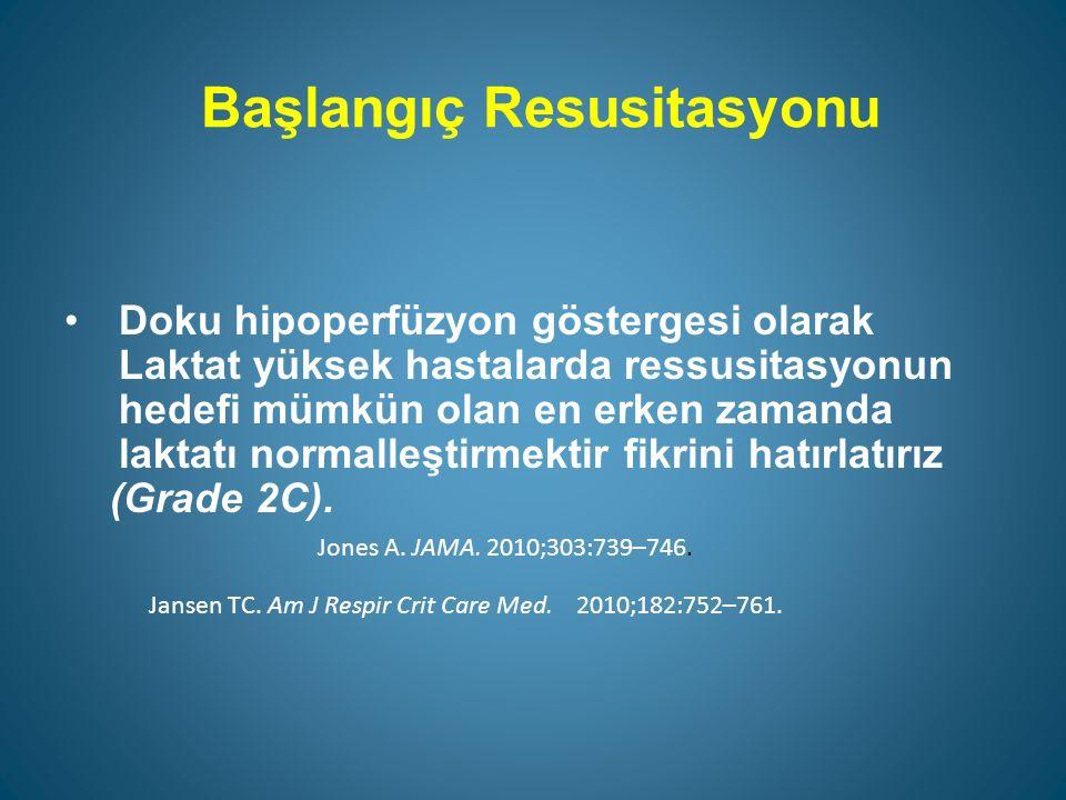 Başlangıç Resusitasyonu Doku hipoperfüzyon göstergesi olarak Laktat yüksek hastalarda ressusitasyonun hedefi mümkün olan en erken zamanda laktatı normalleştirmektir fikrini hatırlatırız (Grade 2C).