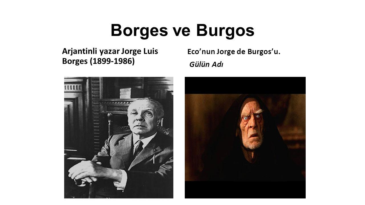 Borges ve Burgos Arjantinli yazar Jorge Luis Borges (1899-1986) Eco'nun Jorge de Burgos'u.